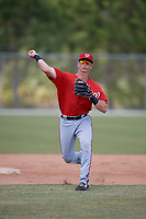 Washington Nationals Tyler Beckwith (7) throws during practice before a minor league Spring Training game against the St. Louis Cardinals on March 27, 2017 at the Roger Dean Stadium Complex in Jupiter, Florida.  (Mike Janes/Four Seam Images)