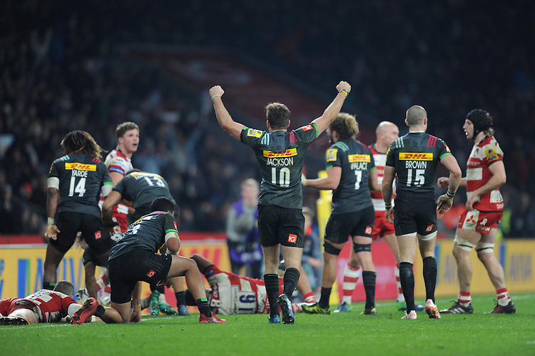 Ruaridh Jackson of Harlequins celebrates as they win the Aviva Premiership Rugby match between Harlequins and Gloucester Rugby at Twickenham Stadium on Tuesday 27th December 2016 (Photo by Rob Munro/Stewart Communications)