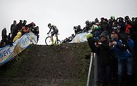 Sven Nys (BEL/Crelan-AAdrinks) almost manages to ride the whole super slippery muddy climb<br /> <br /> Noordzeecross - Middelkerke 2016