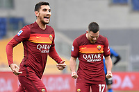 Lorenzo Pellegrini of AS Roma celebrates after scoring the goal of 1-0 during the Serie A football match between AS Roma and FC Internazionale at Olimpico stadium in Roma (Italy), January 10th, 2021. Photo Andrea Staccioli / Insidefoto
