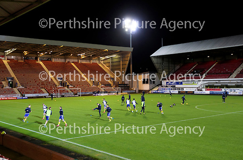 Dunfermline v St Johnstone…15.12.20   East End Park      BetFred Cup<br />The saints palyrs warm-up before kick off<br />Picture by Graeme Hart.<br />Copyright Perthshire Picture Agency<br />Tel: 01738 623350  Mobile: 07990 594431