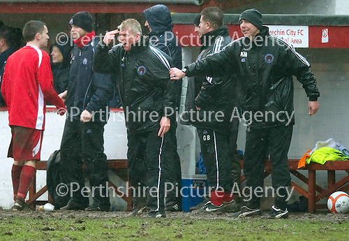 Brechin v St Johnstone....12.03.11  Scottish Cup Quarter Final.Jim Weir goes nuts on the touchline.Picture by Graeme Hart..Copyright Perthshire Picture Agency.Tel: 01738 623350  Mobile: 07990 594431