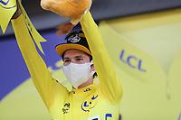 15th September 2020; Lyon, France; Tour De France 2020, La Tour-du-Pin to Villard-de-Lans, stage 16; Primoz Roglic Slovenia Team Jumbo - Visma celebrates on the podium         -