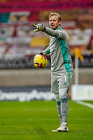 7th February 2021; Molineux Stadium, Wolverhampton, West Midlands, England; English Premier League Football, Wolverhampton Wanderers versus Leicester City; Kasper Schmeichel of Leicester City issues instructions to his defense