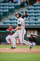 Richmond Flying Squirrels third baseman Dillon Dobson (28) follows through on a swing during a game against the Altoona Curve on May 15, 2018 at Peoples Natural Gas Field in Altoona, Pennsylvania.  Altoona defeated Richmond 5-1.  (Mike Janes/Four Seam Images)