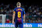 Andres Iniesta Lujan (r) of FC Barcelona reacts during the La Liga 2017-18 match between FC Barcelona and Malaga CF at Camp Nou on 21 October 2017 in Barcelona, Spain. Photo by Vicens Gimenez / Power Sport Images
