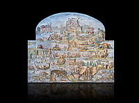 Pictures of the famous Nilotic landscape Palestrina Mosaic or Nile mosaic of Palestrina of the Museo Archeologico Nazionale di Palestrina Prenestino  (Palestrina Archaeological Museum), Palestrina, Italy. Measuring 5.85 m wide by 4.31 m high ( 19 ft wide x 14 ft high). 1st or 2nd century BC. Against a black background.<br /> <br /> The Nile mosaic of Palestrina can be attributed to Alexandrian artists who were certainly present in Italy during the 2nd century BC. The mosaic depicts the Nile in flood and artificially compresses the length of the river into a series of zig zags. The top part of the mosaic represents Ethiopia and Nubia at the source of the Nile. The river flows down steep slopes between black hunters and African animals. The Nile flows to the bottom right hand corner of the mosaic where the harbour of Alexandria is depicted and right in the bottom right corner is the Island of the Pharos opposite which is a banqueting scene, possibly at Canopus. <br /> <br /> In the centre of the mosaic is a large Egyptian temple possibly the great sanctuary of Memphis or Karnak. The Mosaic though is dotted with Greek temples of the Greek ruling Ptolemy family who displaced the Pharos.