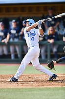 North Carolina Tar Heels catcher Cody Roberts (11) swings at a pitch during a game against the Pittsburgh Panthers at Boshamer Stadium on March 17, 2018 in Chapel Hill, North Carolina. The Tar Heels defeated the Panthers 4-0. (Tony Farlow/Four Seam Images)