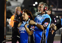 Oct. 26, 2012; Las Vegas, NV, USA: NHRA crew members for top fuel dragster driver T.J. Zizzo during qualifying for the Big O Tires Nationals at The Strip in Las Vegas. Mandatory Credit: Mark J. Rebilas-