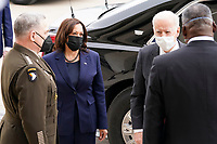 President Joe Biden and Vice President Kamala Harris greet Joint Chiefs Chairman Gen. Mark Milley and Secretary of Defense Lloyd Austin at the Pentagon, in Arlington, Virginia, 10 February 2021.<br /> CAP/MPI/RS<br /> ©RS/MPI/Capital Pictures