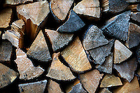 A detail of a pile of cut firewood outside Lincoln, Montana, USA.