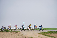 Gonzalo Serrano (ESP/Movistar) leading a stretched peloton<br /> <br /> 85th La Flèche Wallonne 2021 (1.UWT)<br /> 1 day race from Charleroi to the Mur de Huy (BEL): 194km<br /> <br /> ©kramon