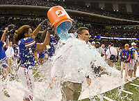 01 January 2010:  Florida head coach Urban Meyer gets doused with ice cold Gatorade from Florida players before winning the game against Cincinnati during Sugar Bowl at the SuperDome in New Orleans, Louisiana.  Florida defeated Cincinnati, 51-24.