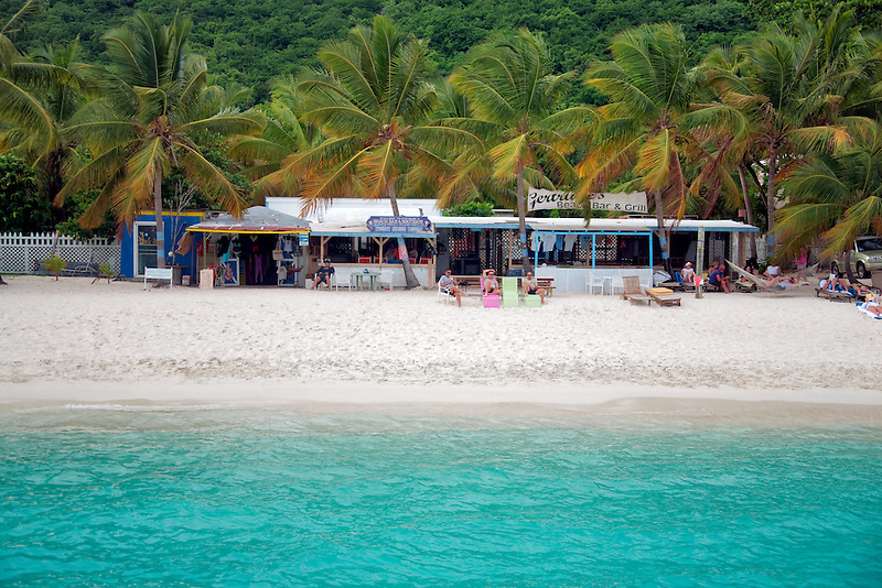 White Bay Beach with bar. Jost Van Dyke. British Virgin Islands