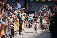 Belgian Champion Yves Lampaert (BEL/Quick Step Floors) coming back from the sign-on podium<br /> <br /> Stage 15: Millau > Carcassonne (181km)<br /> <br /> 105th Tour de France 2018<br /> ©kramon