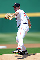 Pitcher Ross Ohlendorf (#46) of the Pawtucket Red Sox during a game versus the Durham Bulls at McCoy Stadium in Pawtucket, Rhode Island on April 21, 2012. Ken Babbitt /Four Seam Images