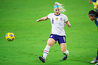 ORLANDO, FL - JANUARY 18: Julie Ertz #8 of the USWNT defends the ball during a game between Colombia and USWNT at Exploria Stadium on January 18, 2021 in Orlando, Florida.