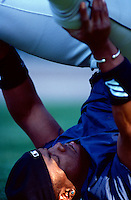 Glennallen Hill of the Seattle Mariners plays in a baseball game at Edison International Field during the 1998 season in Anaheim, California. (Larry Goren/Four Seam Images)