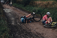 2nd October 2021, Paris–Roubaix Cycling tour; The first ever women's edition of Paris Roubaix which is famous for its uneven cobblestone course. A competitor slips and start to go down on the cobbles bringing down the rider immediately behind