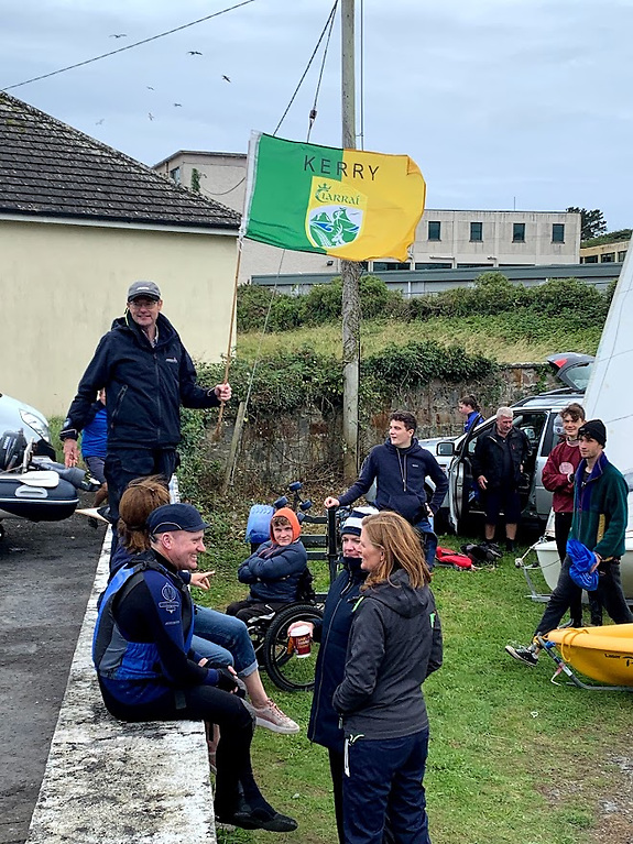 CSS Spiddal 2021 regatta race officer Stephen O'Gorman showing his county loyalties Photo: Dave Cahill