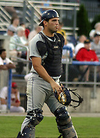 August 18, 2003:  Ryan Garko of the Mahoning Valley Scrappers, Class-A affiliate of the Cleveland Indians, during a NY-Penn League game at Dwyer Stadium in Batavia, NY.  Photo by:  Mike Janes/Four Seam Images