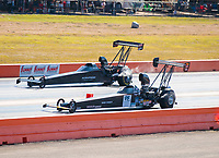 Oct 19, 2019; Ennis, TX, USA; NHRA top alcohol dragster driver Monroe Guest (near) defeats Jasmine Salinas during the Fall Nationals at the Texas Motorplex. Mandatory Credit: Mark J. Rebilas-USA TODAY Sports