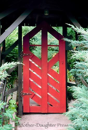 Japanese garden gate entrance into a private garden