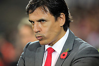 Wales manager Chris Coleman during the 2018 FIFA World Cup Qualifier between Wales and Serbia at the Cardiff City Stadium, Wales, UK. Saturday 12 November 2016