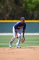 Minnesota Twins Jermaine Palacios (32) during a minor league Spring Training game against the Baltimore Orioles on March 17, 2017 at the Buck O'Neil Baseball Complex in Sarasota, Florida.  (Mike Janes/Four Seam Images)