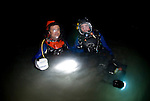 Dr. Jamie Seymour & Richard Fitzpatrick in fully enclosed dive gear to look for Irukandji box jellyfish underwater. Fully enclose helmets also has a 2 way communication system