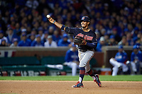 Cleveland Indians shortstop Francisco Lindor (12) throws to first base in the seventh inning during Game 5 of the Major League Baseball World Series against the Chicago Cubs on October 30, 2016 at Wrigley Field in Chicago, Illinois.  (Mike Janes/Four Seam Images)