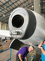 """Pictured: The jet engine exhaust system of the Airbus A320 where to Kestrel chicks were nesting.<br /> Re: A pair of kestrel chicks were found nesting in a jet plane's exhaust system while it was undergoing repairs at St. Athan, Wales, UK.<br /> The birds had not eaten for several days when engineers spotted them in the Airbus A320 aircraft.<br /> RSPCA Cymru officers rescued them before they were sent to Gower Bird Hospital for rehabilitation.<br /> RSPCA Inspector Simon Evans said: """"I have no doubt they were rescued just in the nick of time."""""""