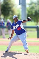 Gustavo Gomez #40 of the Los Angeles Dodgers pitches during a Minor League Spring Training Game against the Cleveland Indians at the Los Angeles Dodgers Spring Training Complex on March 22, 2014 in Glendale, Arizona. (Larry Goren/Four Seam Images)
