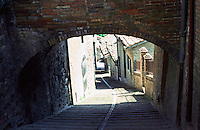 Urbino:  A street in Urbino--hilly and narrow.  Photo '83.