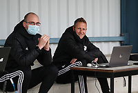 Staff members of OHL pictured before a female soccer game between Oud Heverlee Leuven and Femina White Star Woluwe  on the 5 th matchday of the 2020 - 2021 season of Belgian Womens Super League , Sunday 18 th of October 2020  in Heverlee , Belgium . PHOTO SPORTPIX.BE   SPP   SEVIL OKTEM