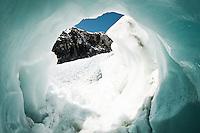 An ice cave on Franz Josef Glacier - Westland National Park, West Coast, New Zealand