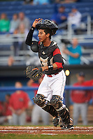 Batavia Muckdogs catcher Pablo Garcia (7) during a game against the Williamsport Crosscutters on September 1, 2016 at Dwyer Stadium in Batavia, New York.  Williamsport defeated Batavia 10-3. (Mike Janes/Four Seam Images)