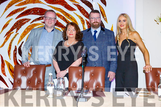 The Judges at the Ballymac Strictly Love dancing in the Ballygarry House Hotel on Saturday. L to r: Dave Allman, Sharon Phelan, Adrian Boyle and Nicole McEllistrim.