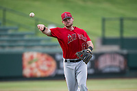 AZL Angels third baseman Justin Jones (88) makes a throw to first base during an Arizona League game against the AZL Diamondbacks at Tempe Diablo Stadium on July 16, 2018 in Tempe, Arizona. The AZL Diamondbacks defeated the AZL Angels 4-3. (Zachary Lucy/Four Seam Images)