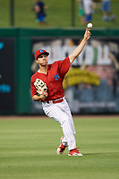 Clearwater Threshers left fielder Adam Haseley (17) throws from the outfield during a game against the Jupiter Hammerheads on April 12, 2018 at Spectrum Field in Clearwater, Florida.  Jupiter defeated Clearwater 8-4.  (Mike Janes/Four Seam Images)