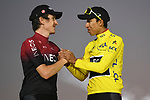 Egan Bernal (COL) Team Ineos wins the overall general classification Yellow Jersey with team mate and defending champion Geraint Thomas (WAL) in 2nd overall on the final podium at the end of Stage 21 of the 2019 Tour de France running 128km from Rambouillet to Paris Champs-Elysees, France. 28th July 2019.<br /> Picture: ASO/Pauline Ballet   Cyclefile<br /> All photos usage must carry mandatory copyright credit (© Cyclefile   ASO/Pauline Ballet)