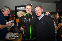 Pictured: George Byers of Swansea City with Steve Cooper Head Coach of Swansea City during the Swansea player and fans bowling evening at Tenpin Swansea, Swansea, Wales, UK. Wednesday 22 January 2020