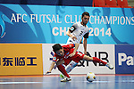 Chonburi Blue Wave vs Dabiri Tabriz during the 2014 AFC Futsal Club Championship Group Stage B match on August 27, 2014 at the Shuangliu Sports Centre in Chengdu, China. Photo by World Sport Group