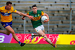 Emmet McMahon, Clare, in action against Paul Geaney, Kerry, during the Munster Football Championship game between Kerry and Clare at Fitzgerald Stadium, Killarney on Saturday.