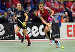 GER - Luebeck, Germany, February 06: During the 1. Bundesliga Damen indoor hockey semi final match at the Final 4 between Berliner HC (blue) and Duesseldorfer HC (red) on February 6, 2016 at Hansehalle Luebeck in Luebeck, Germany. Final score 1-3 (HT 0-1). (Photo by Dirk Markgraf / www.265-images.com) *** Local caption *** Selin Oruz #14 of Duesseldorfer HC