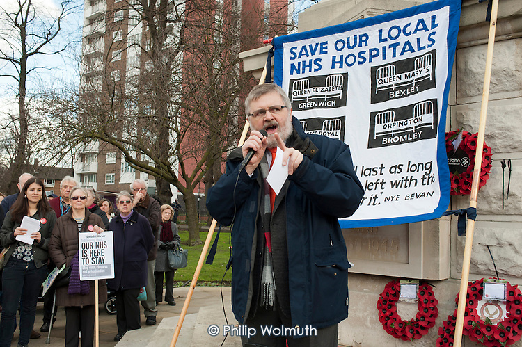 Sir Steve Bullock, Mayor of Lewisham.  Health workers, patients, local residents and trade unions take part in a Save Lewisham Hospital Campaign rally outside the hospital to protest at proposed closure of A&E and maternity services.