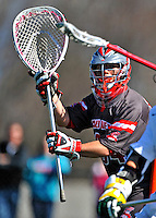 17 March 2012: Sacred Heart University Pioneer Goalkeeper Ryan Hughes, a Sophomore from Bayport, NY, in action against the University of Vermont Catamounts at Virtue Field in Burlington, Vermont. The visiting Pioneers rallied to tie the score at 11 with five unanswered goals, dominating the 4th period. However the Cats scored with only 10 seconds remaining in the game to defeat the Pioneers 12-11 in their non-conference matchup. Mandatory Credit: Ed Wolfstein Photo