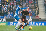 Andres Iniesta Lujan of FC Barcelona (R) fights for the ball with Leonardo Carrilho Baptistao of RCD Espanyol (L) during the La Liga 2017-18 match between RCD Espanyol and FC Barcelona at RCDE Stadium on 04 February 2018 in Barcelona, Spain. Photo by Vicens Gimenez / Power Sport Images