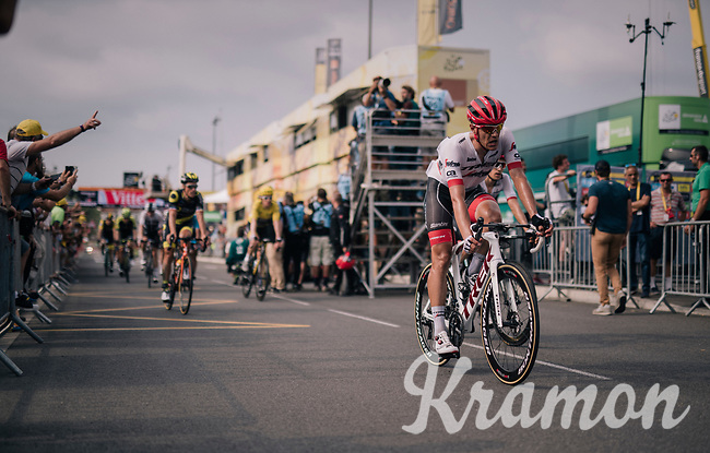 Jasper Stuyven (BEL/Trek-Segafredo) rolling across the finish line<br /> <br /> Stage 18: Trie-sur-Baïse > Pau (172km)<br /> <br /> 105th Tour de France 2018<br /> ©kramon