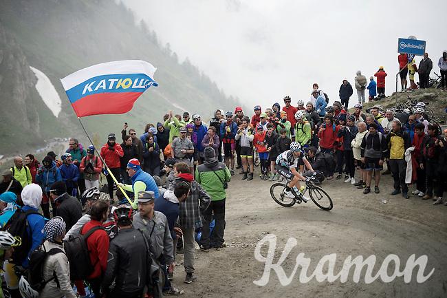 Fabio Sabatini (ITA/Etixx-Quickstep) turning up the dirt roads of the Colle delle Finestre (2178m)<br /> <br /> Giro d'Italia 2015<br /> stage 20: Saint Vincent - Sestriere (199km)